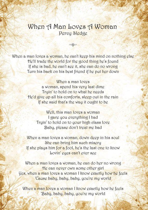 PERCY SLEDGE - WHEN A MAN LOVES A WOMAN LYRICS
