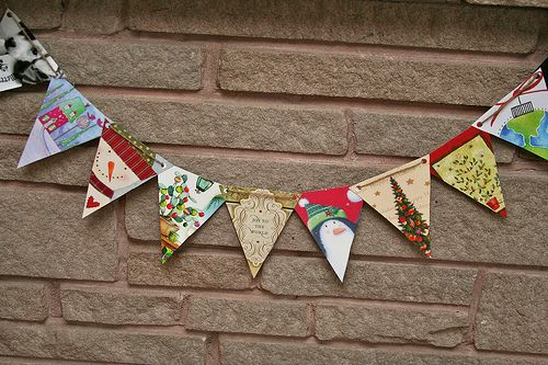 Christmas Card Bunting Could Also Use Other Holidays