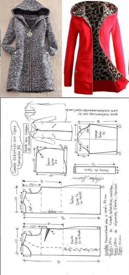 Sobretudo com capuz simples – DIY – molde, corte e costura – Marlene ...