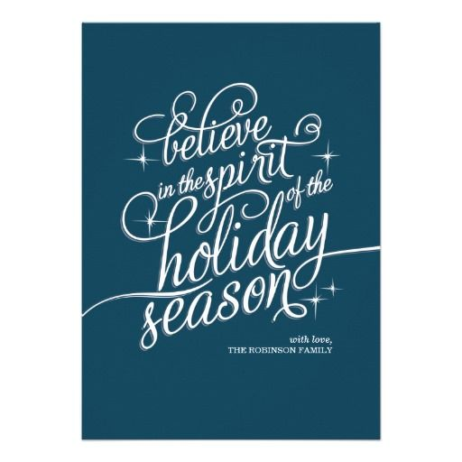 Twinkle Blue Script Holiday Card