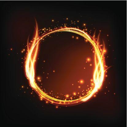 Vector Illustration Fire Ring Fire Icons Frame Border Design
