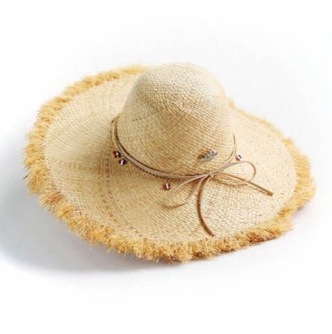 7b472a31d Ladies sun hat raw edge design raffia wide brim straw hats for ...