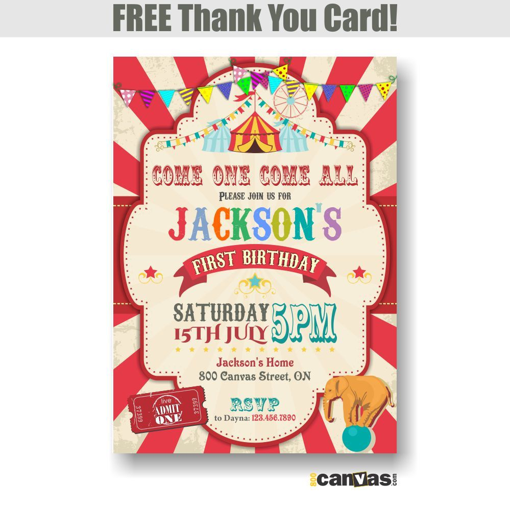 Circus Birthday Invitation. Boy Carnival Birthday Party Invite. Red ...