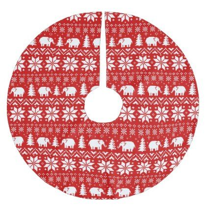 Cute Elephants Christmas Pattern Red Brushed Polyester Tree Skirt