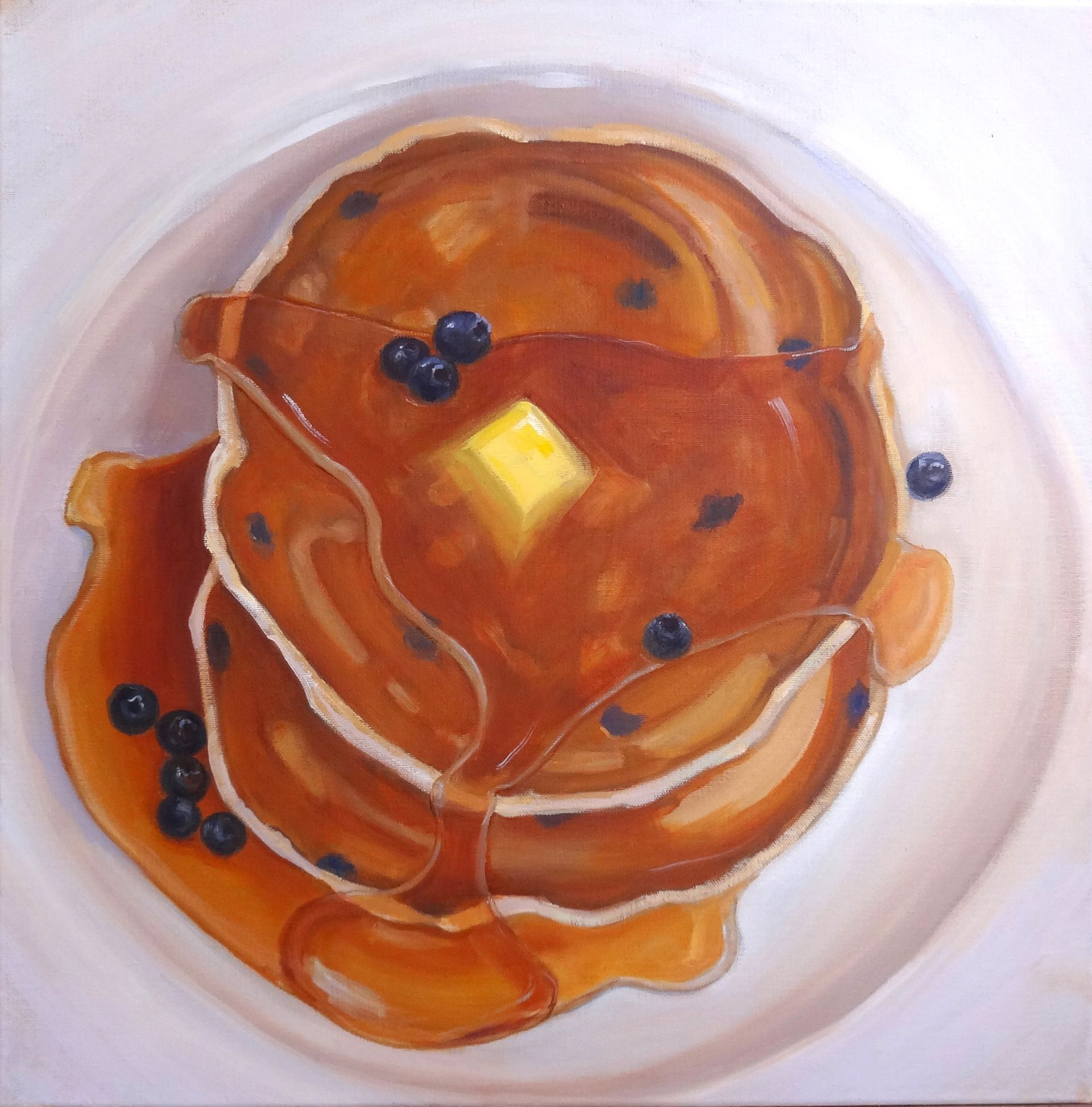 """""""Yummy Pancakes"""" 20x20 Oil Painting by Terry Romero Paul."""