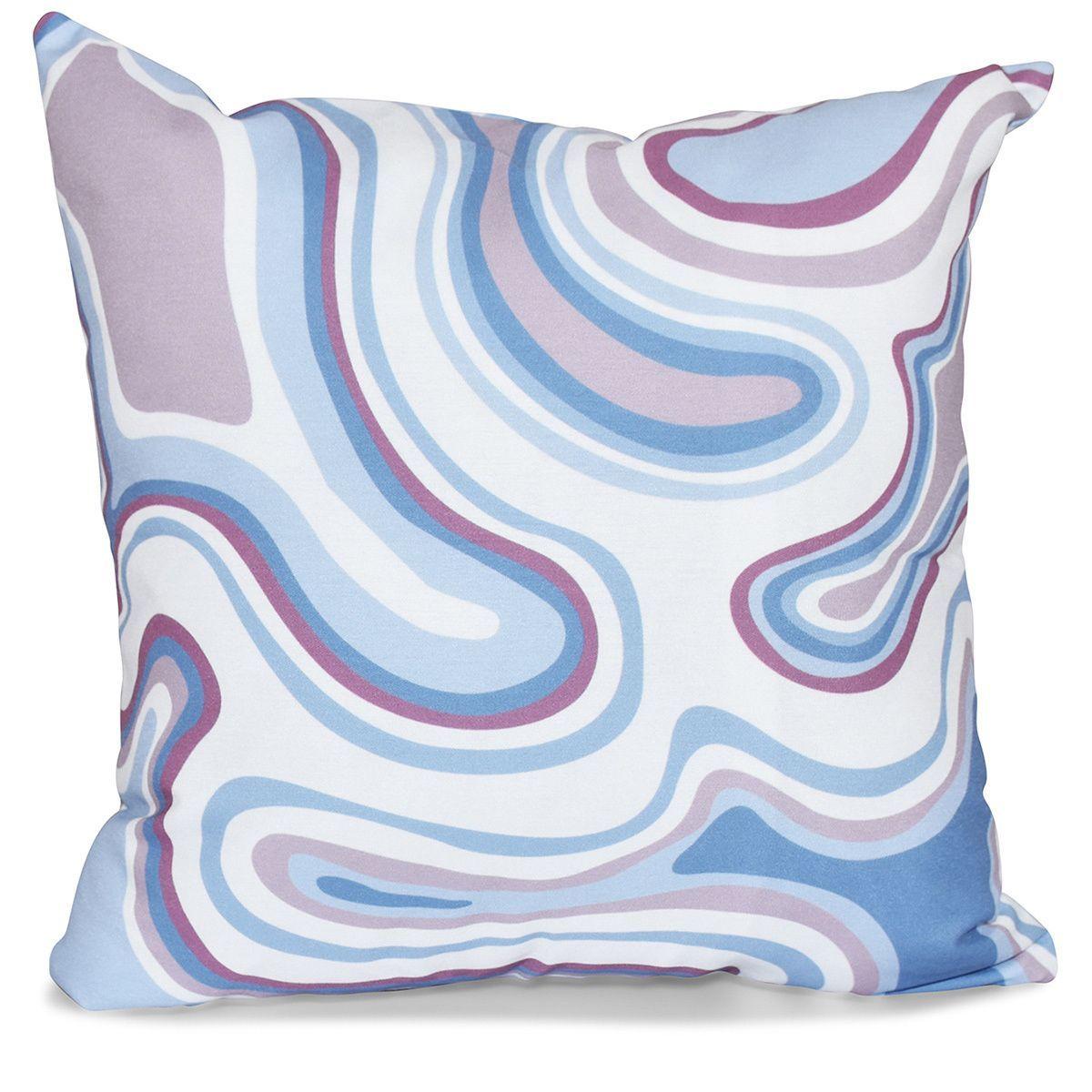 E by design agate geometric print inch pillow teal blue