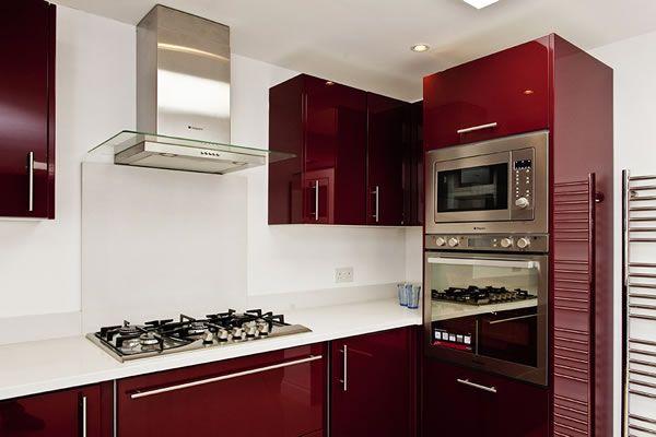 Best Cimstone Arcadia Worktops On High Gloss Burgundy Units 640 x 480