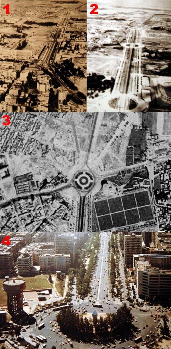 1. Paseo de la Castellana a finales de los años 30.  2. Paseo desde el Estadio de Chamartín en los años 40 3. La Plaza de Castilla en los años 50. De los edificios que hoy rodean la plaza, sólo existía el depósito elevado del Canal de Isabel II, que fue construído en 1940. 4. La Plaza en los años 80, antes de su última reforma. El monumento a Calvo Soltelo se situaba en el centro de una glorieta arbolada.