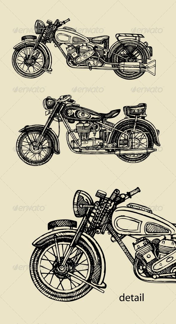 Classic Motorcycle Hand Drawing Motorcycle Illustration Vintage Motorcycle Art Classic Motorcycles