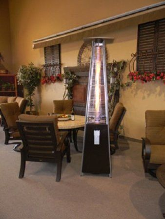Resort Model 40 000 Btu Pyramid Style Glass Tube Flame Patio Heater