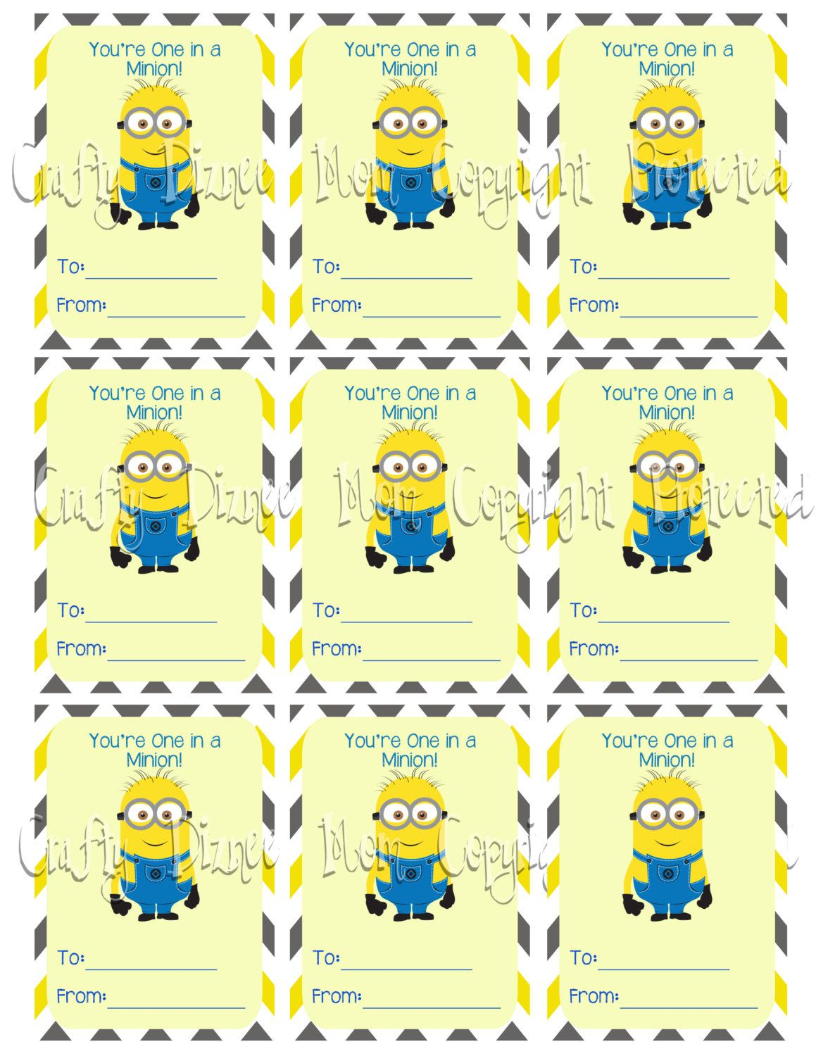 Minion Valentine Printable Youre One In A Minion Minion Valentine Valentines Printables Valentines Cards