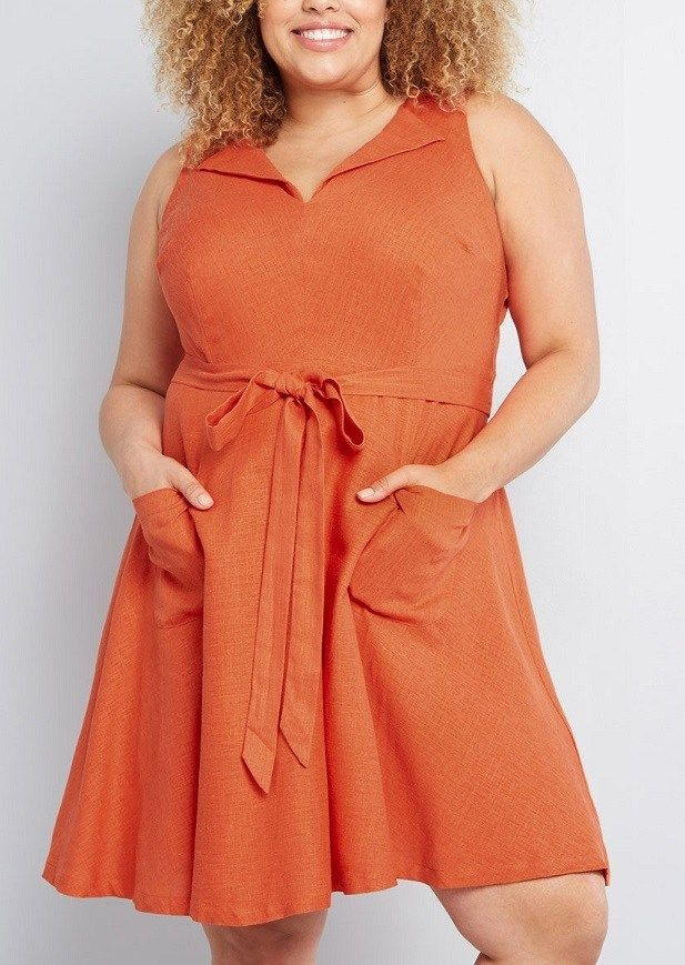 381e7553c1b Coral Plus Size Dress, Coral Color Dress Plus Size, Plus Size Coral Dress  With Pockets, The feminine lapels, sash-tied waist, and patch pockets of  this ...