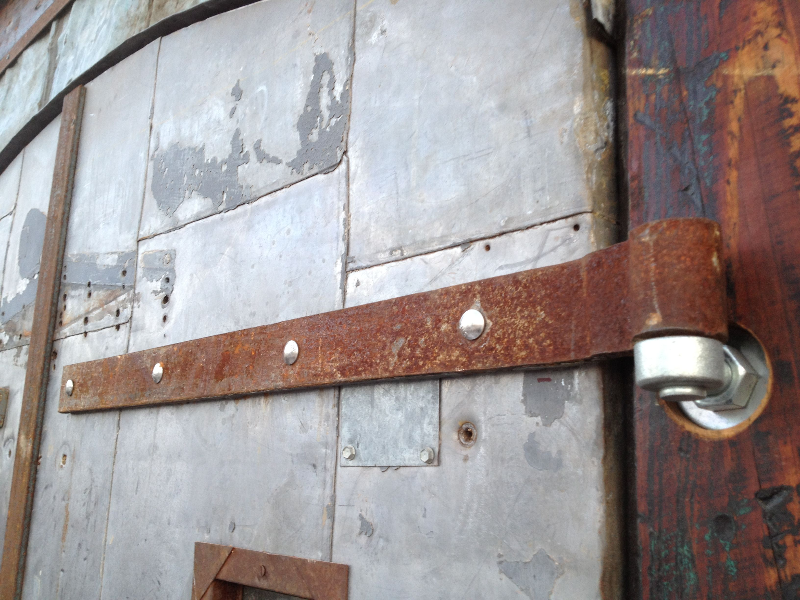 Entrance to the Mystic Brewery in Chelsea MA - By Timberguy - Metal doors salvaged from the Crosby Whistle mill - & Entrance to the Mystic Brewery in Chelsea MA - By Timberguy - Metal ...