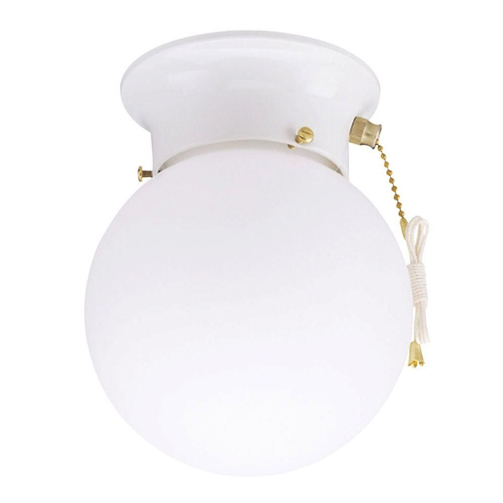 Ceiling Mount Light With Pull Chain Extraordinary Westinghouse 1Light Ceiling Fixture White Interior Flushmount With Decorating Design