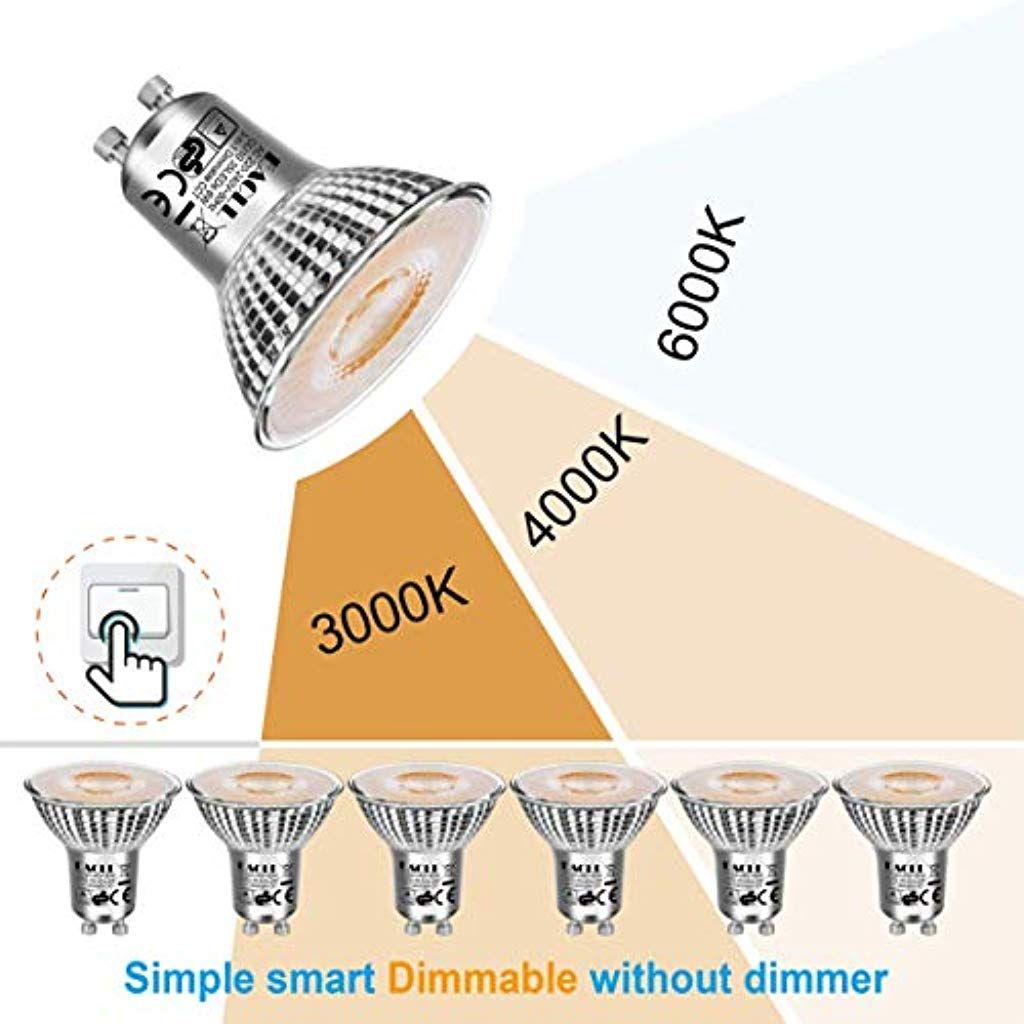 Eacll Gu10 Led Dimmbar 6w 535 Lumen Leuchtmittel Einstellbare Farbtemperatur 3000k 4000k 6000k Par16 Lampen 3 In 1 Lichtanpassu Led Dimmbar Leuchtmittel Lampen