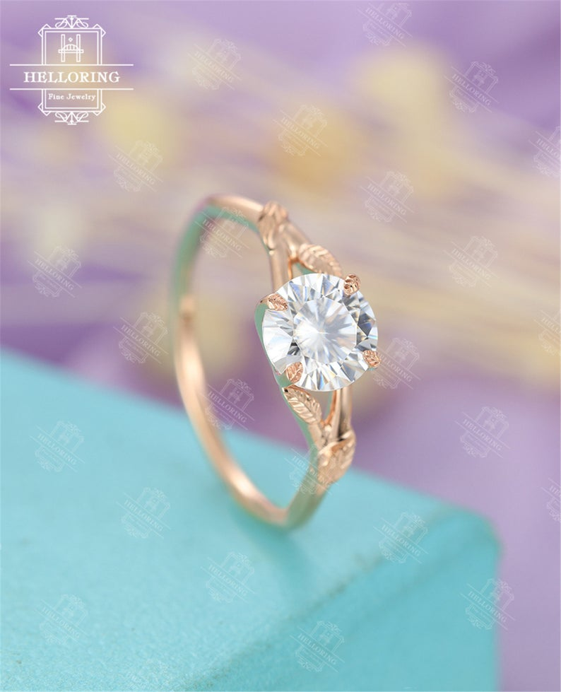 Moissanite Engagement Ring Rose Gold Solitaire Engagement Ring