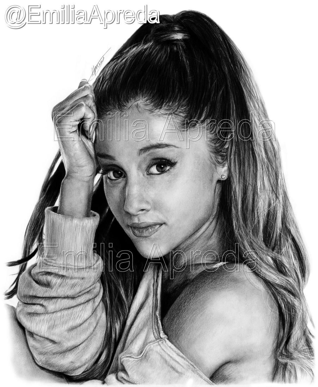 My ariana grande drawing scanned and edited this took me alotttt of hours maybe about 8 9 hrs x arianagrande