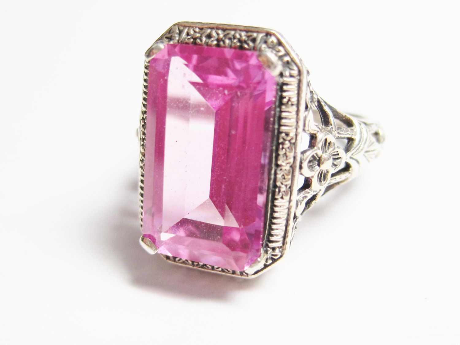 Art Deco Style Pink Sapphire Ring Size 6 | Pink sapphire ring ...