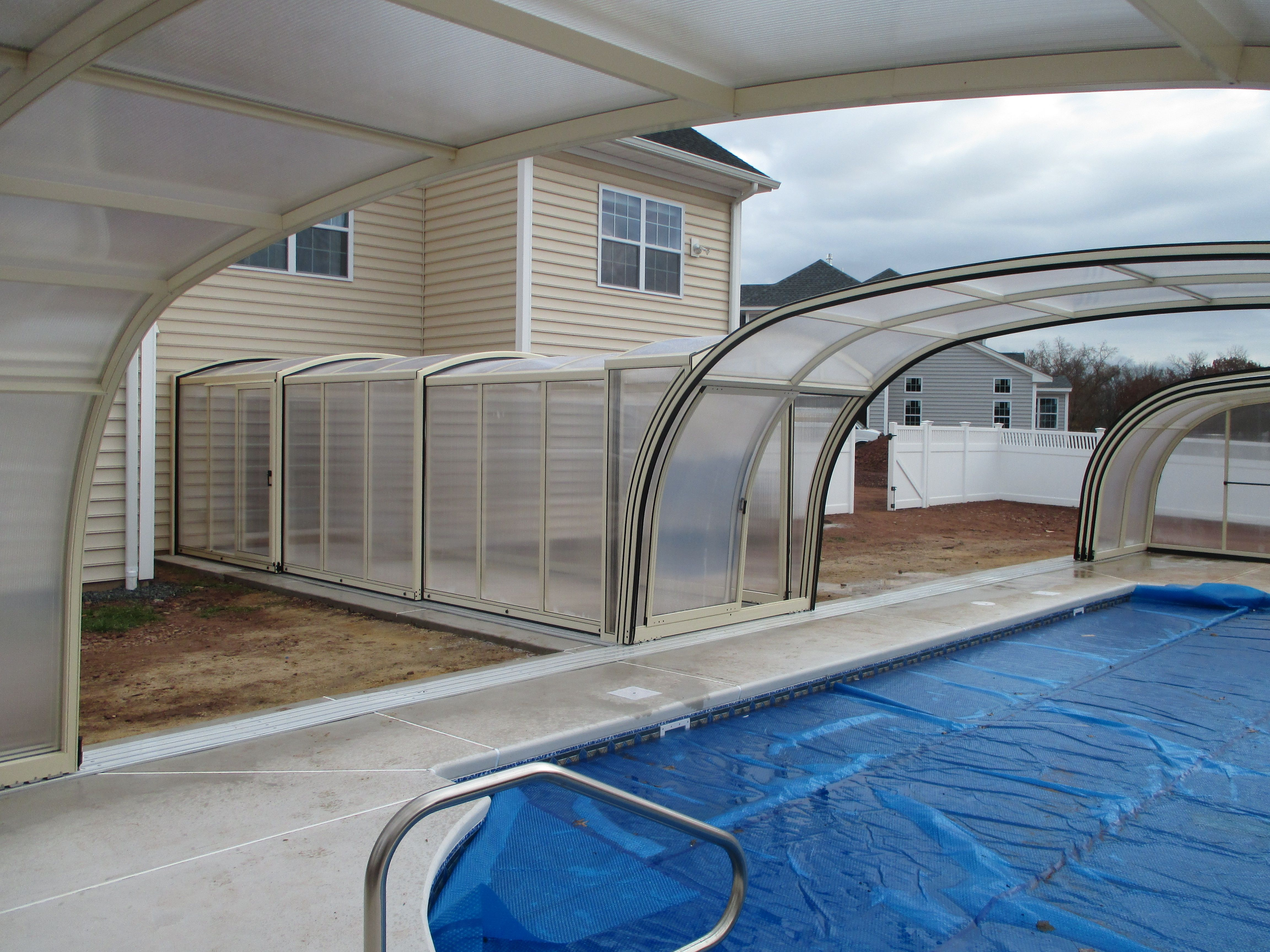 retractable tunnel and pool enclosure custom made backyard