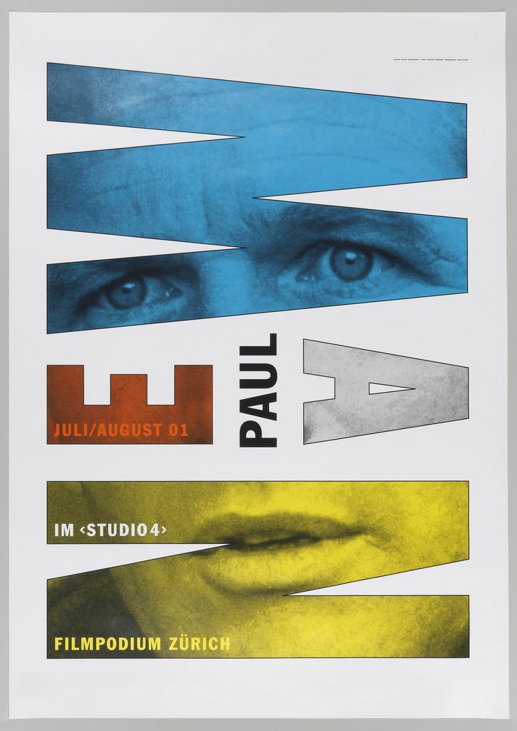 """The name of actor Paul Newman is printed on the poster, though his face is only visible in the letters of his name. The two halves of his last name, """"New"""" and """"man"""" pivot on the word Paul, so that the word """"Newman"""" is written as somewhat like a palindrome and can be read when viewed from opposite sides of the poster. By Ralph Schraivogel."""