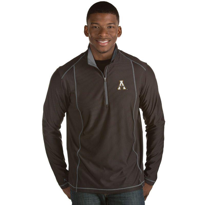 Appalachian State Mountaineers Antigua Tempo 1/2-Zip Desert Dry Pullover Jacket - Black