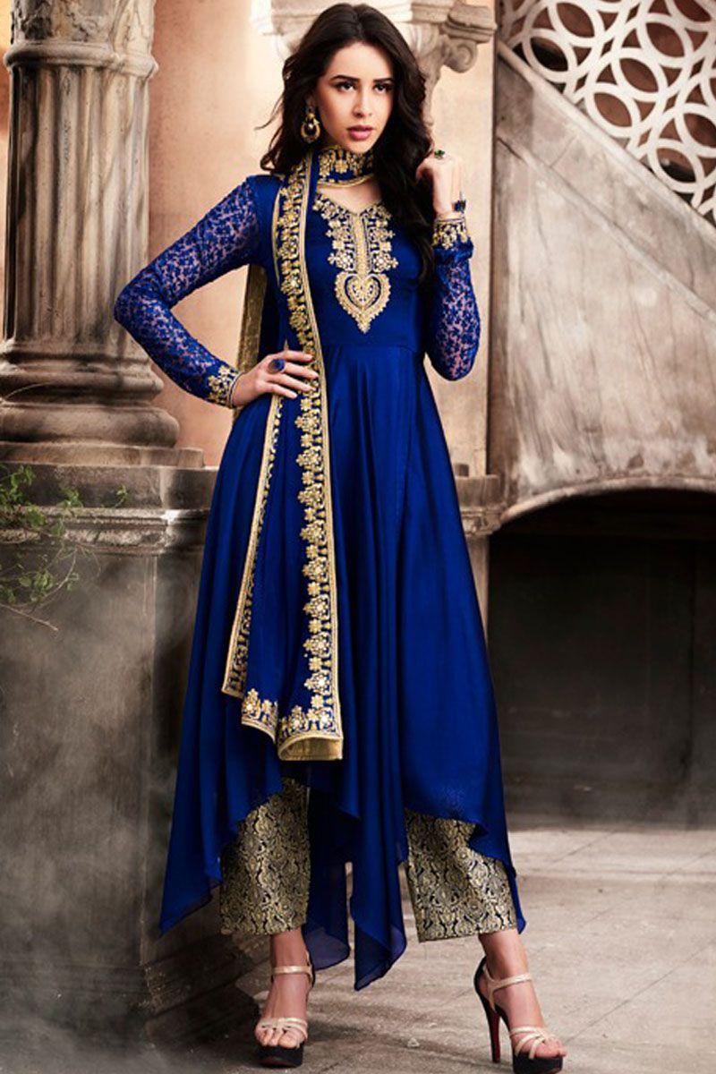 ad9db7b8fa Navy Blue Attractive Designer Wear Silk Georgette Fabrics Embroidery Work  Party Wear Celebrity Bride Style Wedding Wear Fancy Cut Salwar Suit  #nakkashisuits ...