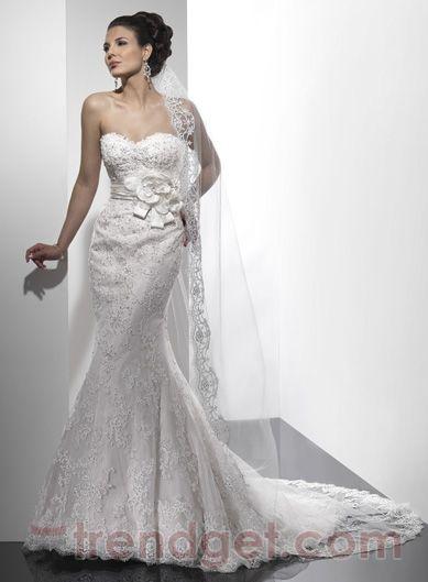 Simple Trumpet / Mermaid Sweetheart Floor-length Lace White Wedding Dresses $193.99 - Trendget.com