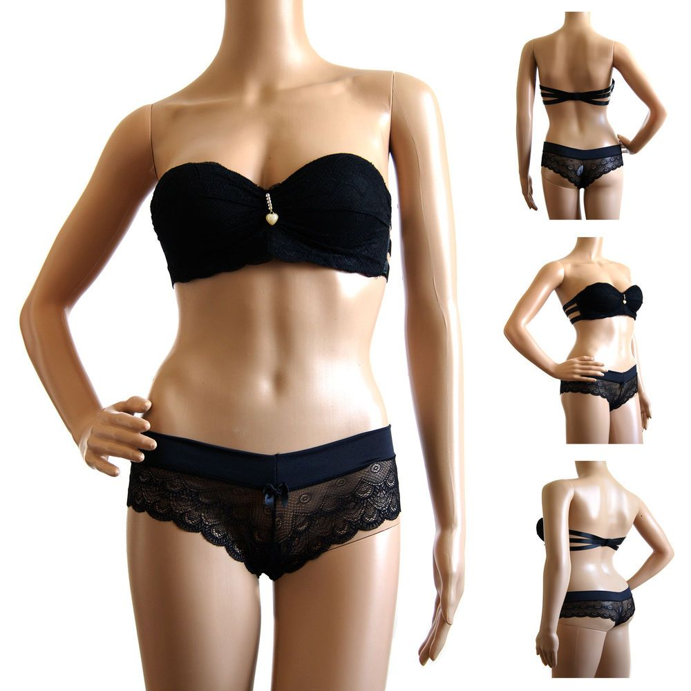 Details about Lightly Padded Balcony Strapless Bra Set Lace Sheer ... f323a7eff