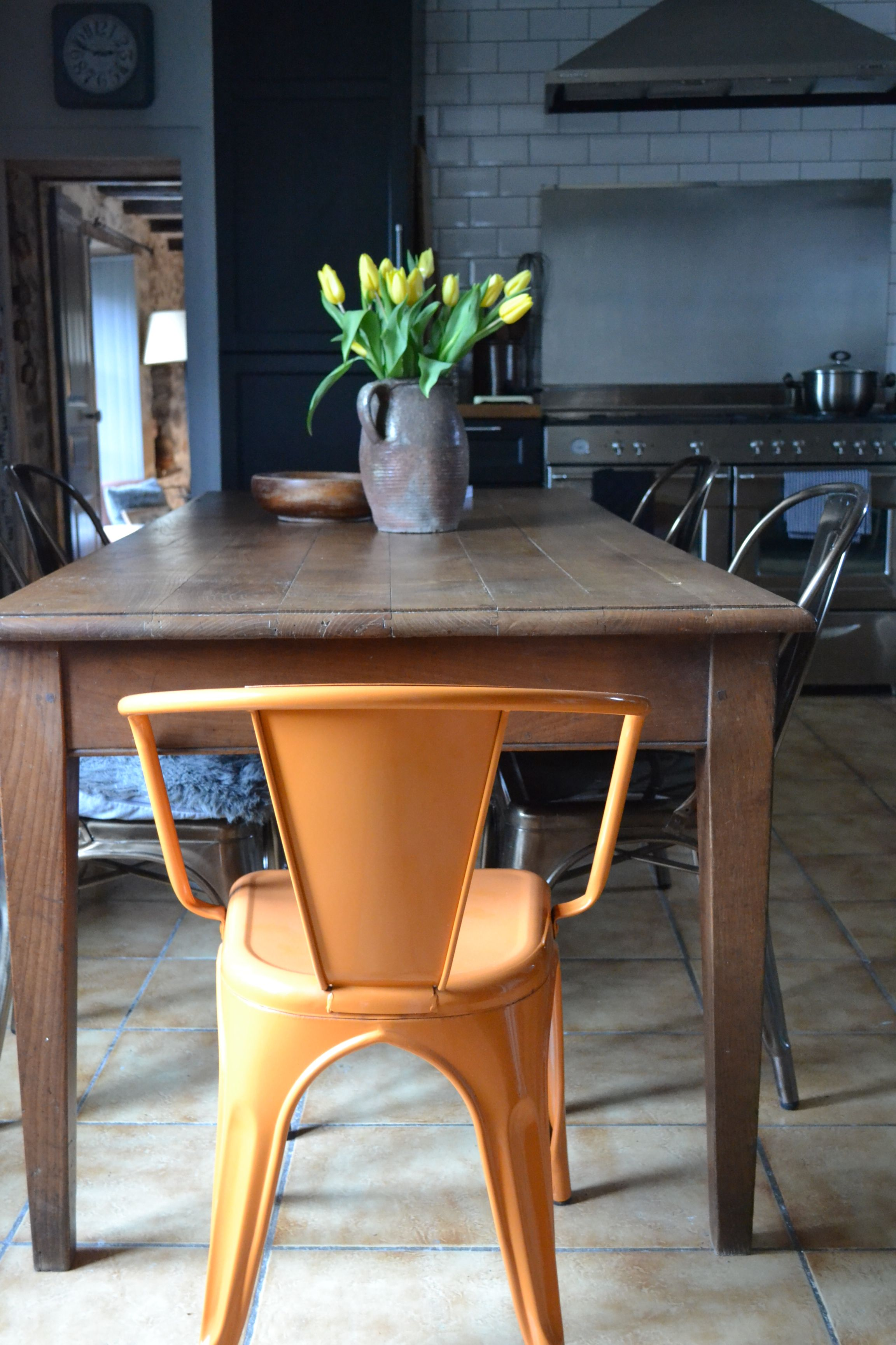 Industrial cafe chairs and original french farmhouse table