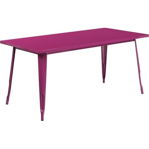 ihome brimmes rectangular 31 5 x 63 purple metal table for
