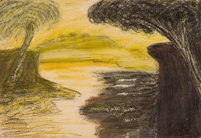 A Landscape Painting By Rabindranath Tagore Pastel On Paper Gallery Of Modern Art Landscape Paintings Art