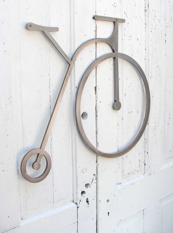 Metal Wall Art Bike Sculpture Penny Hing Bicycle Hanging Home Office Children Modern 23 X 28 325 00 Via Etsy
