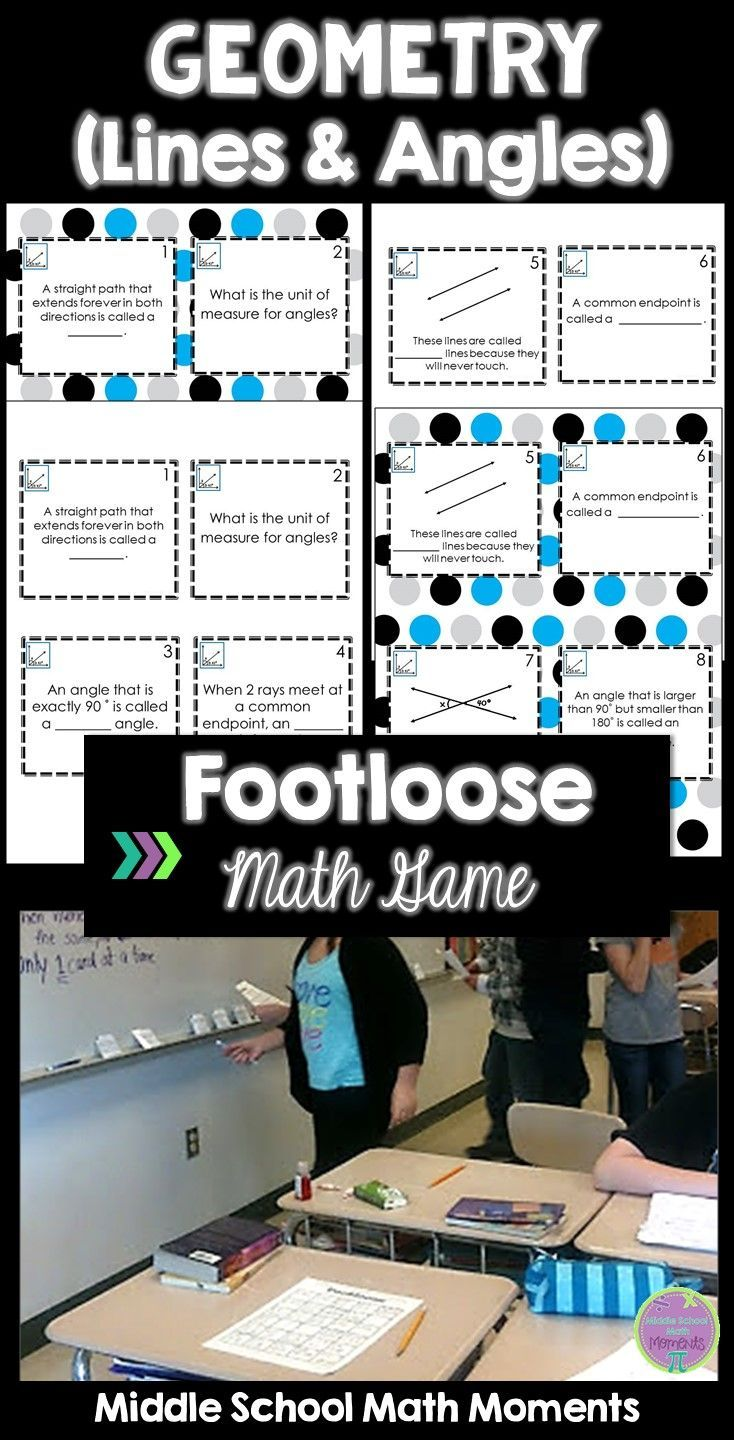 Geometry Lines & Angles Task Cards Footloose Math Game