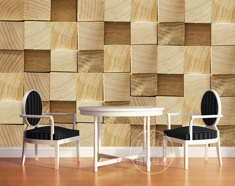 Custom 3D Wallpaper Wood block Photo wallpaper Natural Trees Wall ...