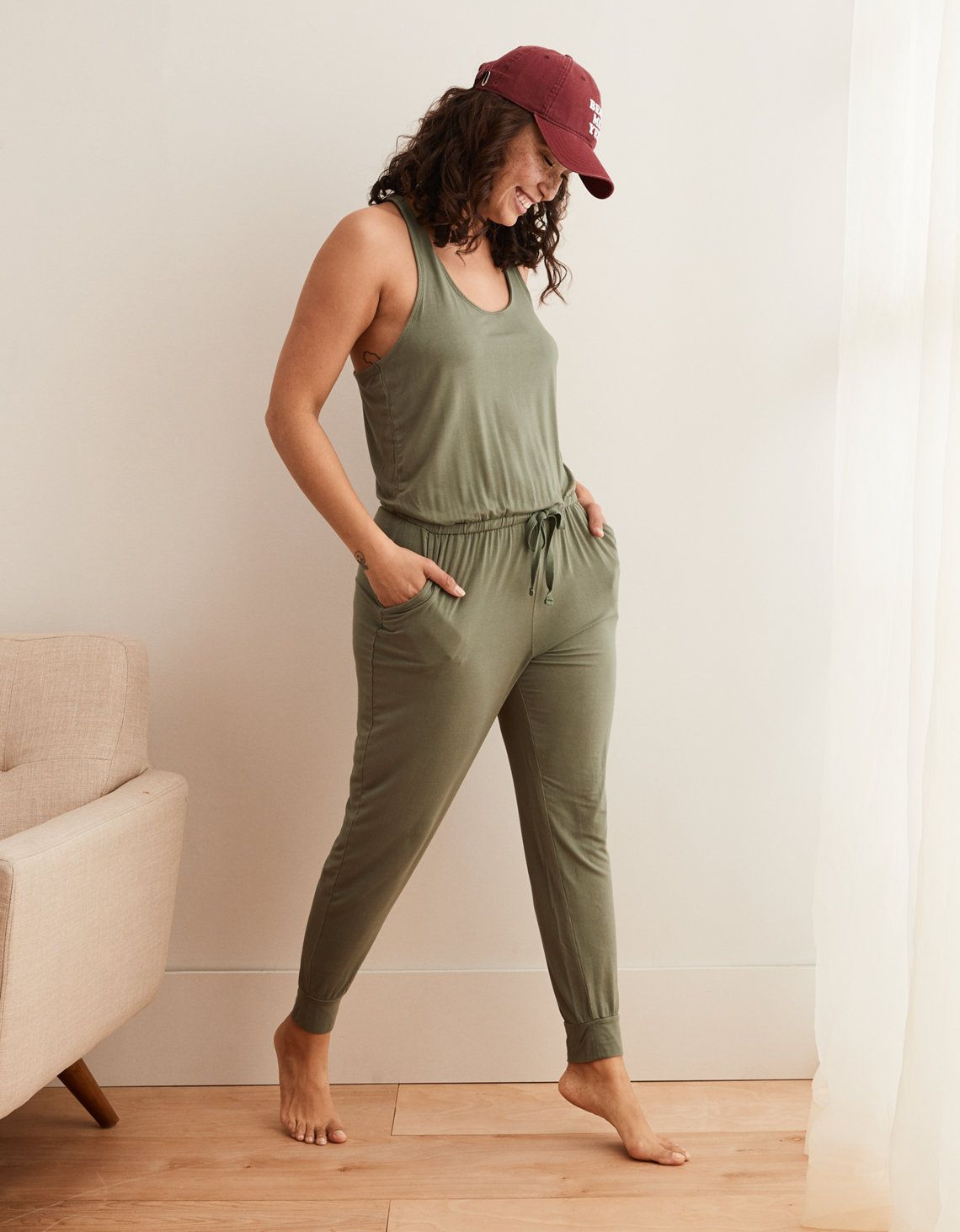 a3bb2660f4980d Aerie Track Jumpsuit, Olive Fun in 2019 | My Style | Jumpsuit, Lace ...