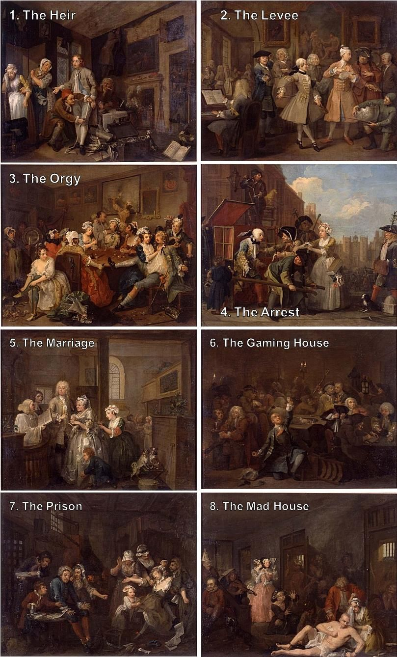 "William Hogarth, A rake's progress (1733) ""The eight paintings in William  Hogarth's A Rake's Progress (1733) tell the story of Tom Rakewell, a young  man who ..."