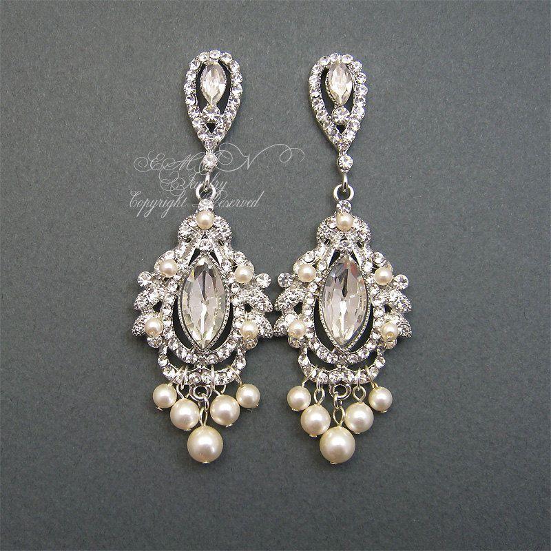 Items Similar To Chandelier Bridal Earrings Rhinestone Pearl Wedding Jewelry Vintage Style White Ivory Pearls On Etsy