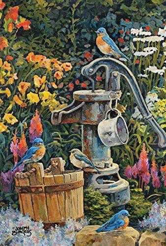 Toland Home Garden Eastern Bluebird Water Well House Flag Large Toland Home Garden Http Www Amazon Com Dp B00pxoo52c Re Outdoor Flags Bird Pictures Bird Art