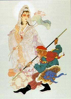 Sun Wukong (the Monkey King) with Guanyin (the Boddhisatva of ...
