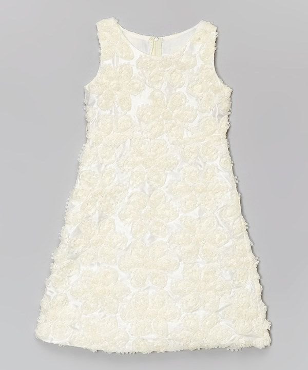 9d701b700029e Look at this Tip Top Kids Ivory Rosette Shift Dress - Toddler ...