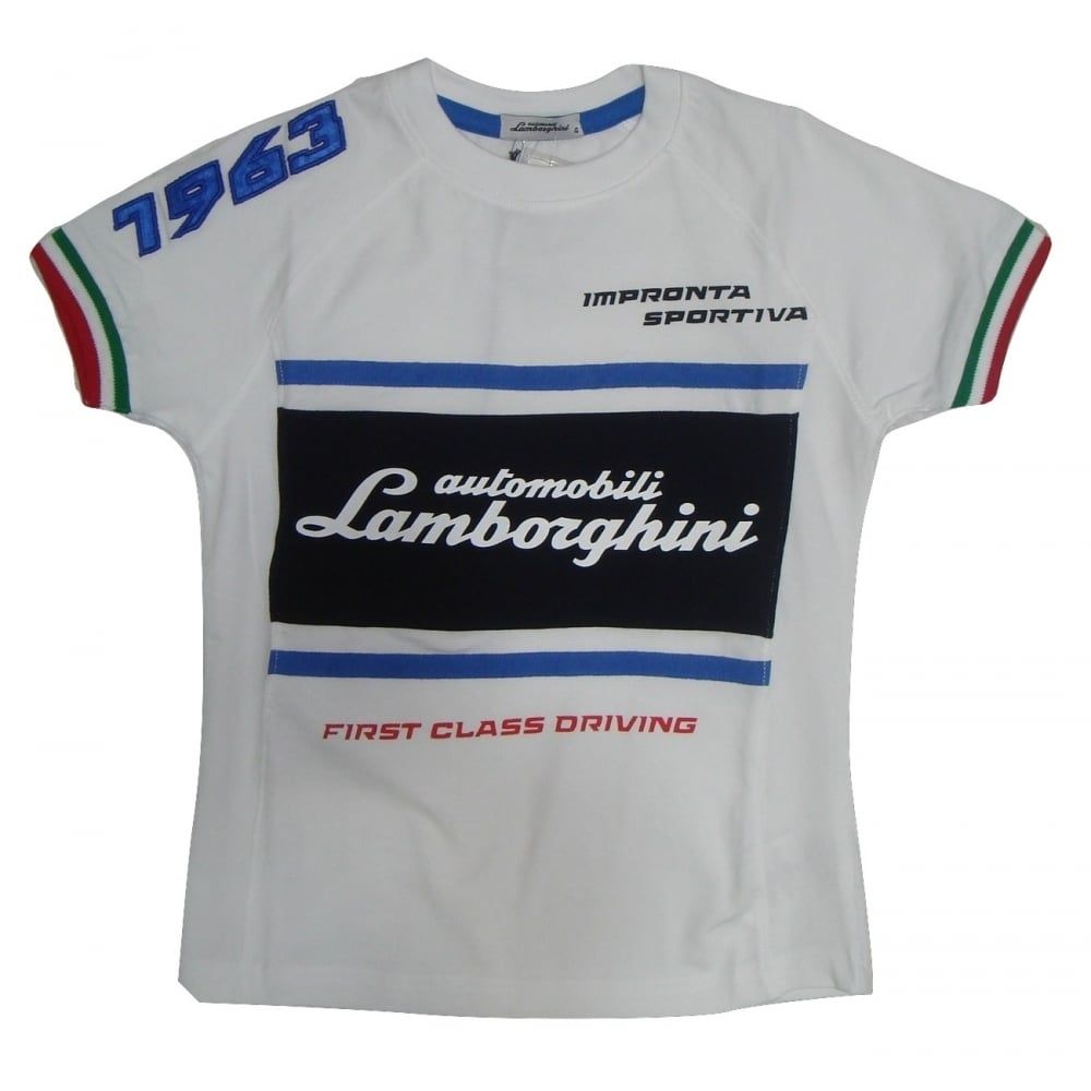 Lamborghini Boys White T Shirt With Writing On The Front