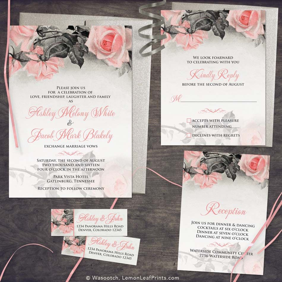 Blush pink grey vintage rose illustration wedding invitation set