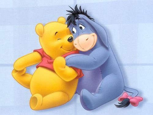 Winnie the Pooh and Eeyore look so adorable. This is probably the happiest I've ever seen Eeyore look.