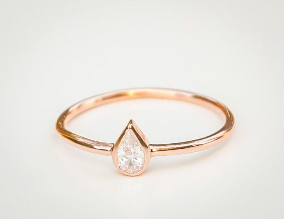 Pear Diamond Ring Pear Engagement Ring Pear Ring 18k Solid