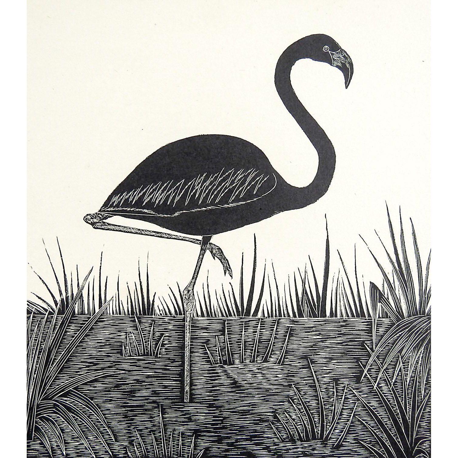 Flamingo Block Print Illustration Image 4 of 4