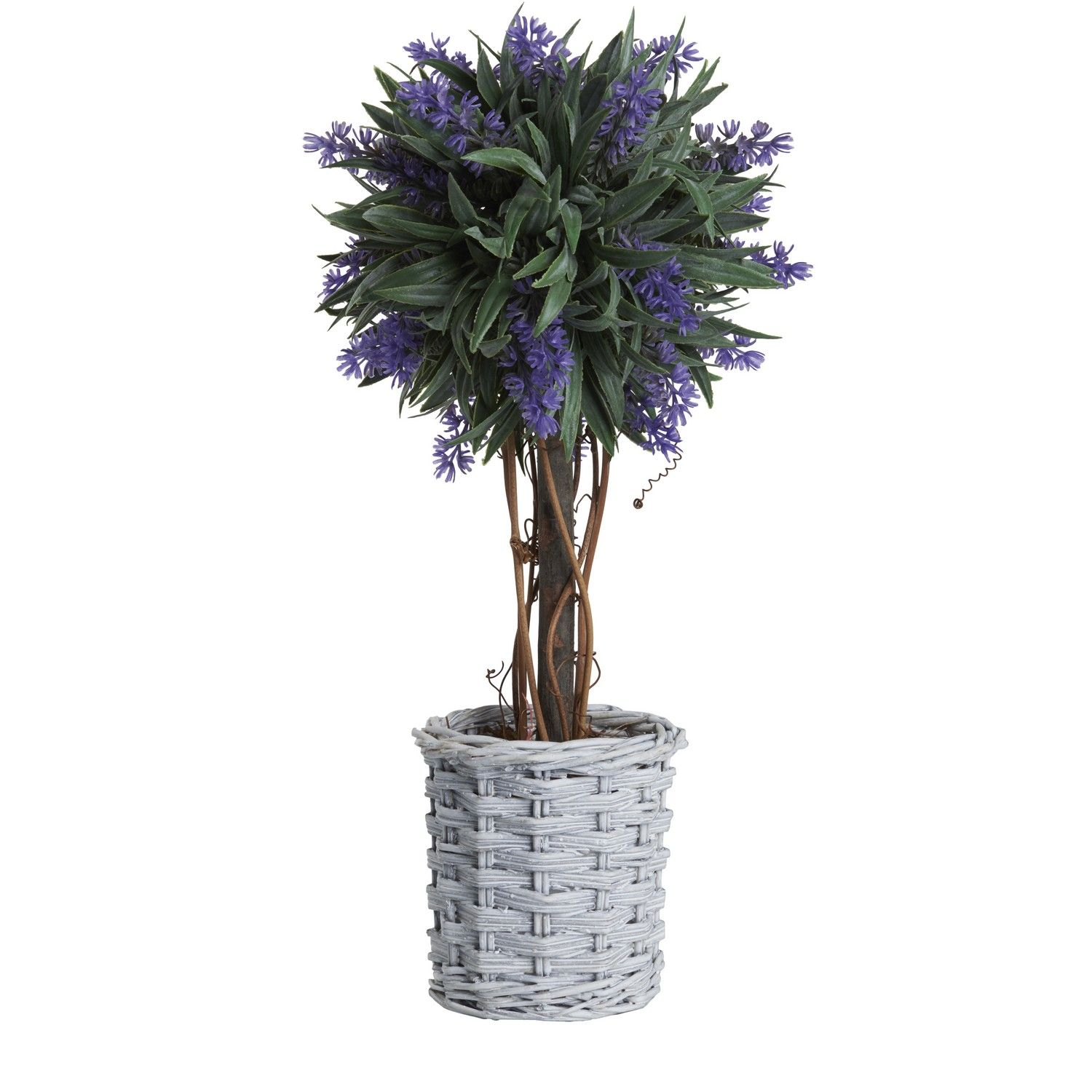 Buy Lavender Ball Tree In Willow Basket Artificial
