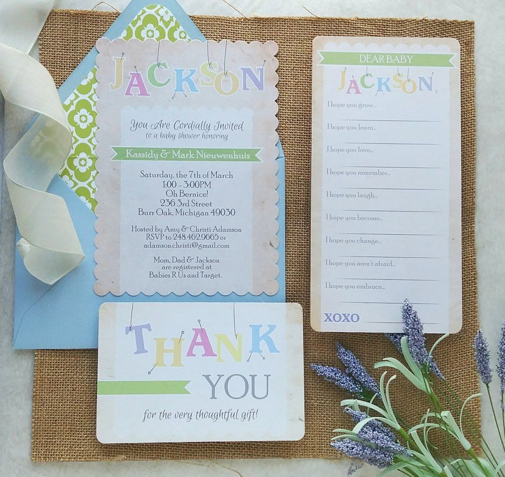 Alphabet Letters Baby Shower Invitation Suite By Cordial Punch Press