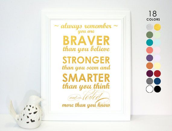 """This white and gold poster features the quote """"Always remember, you are braver than you believe, stronger than you seem and smarter than you think and"""