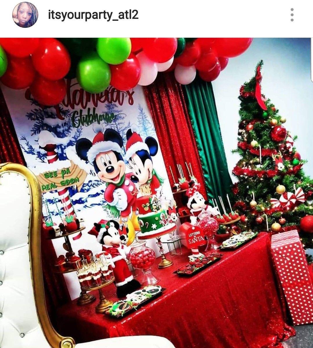 Mickey Minnie Christmas Theme Birthday Dessert Table And Decor Mickeys Christmas Party Christmas Birthday Party Minnie Christmas