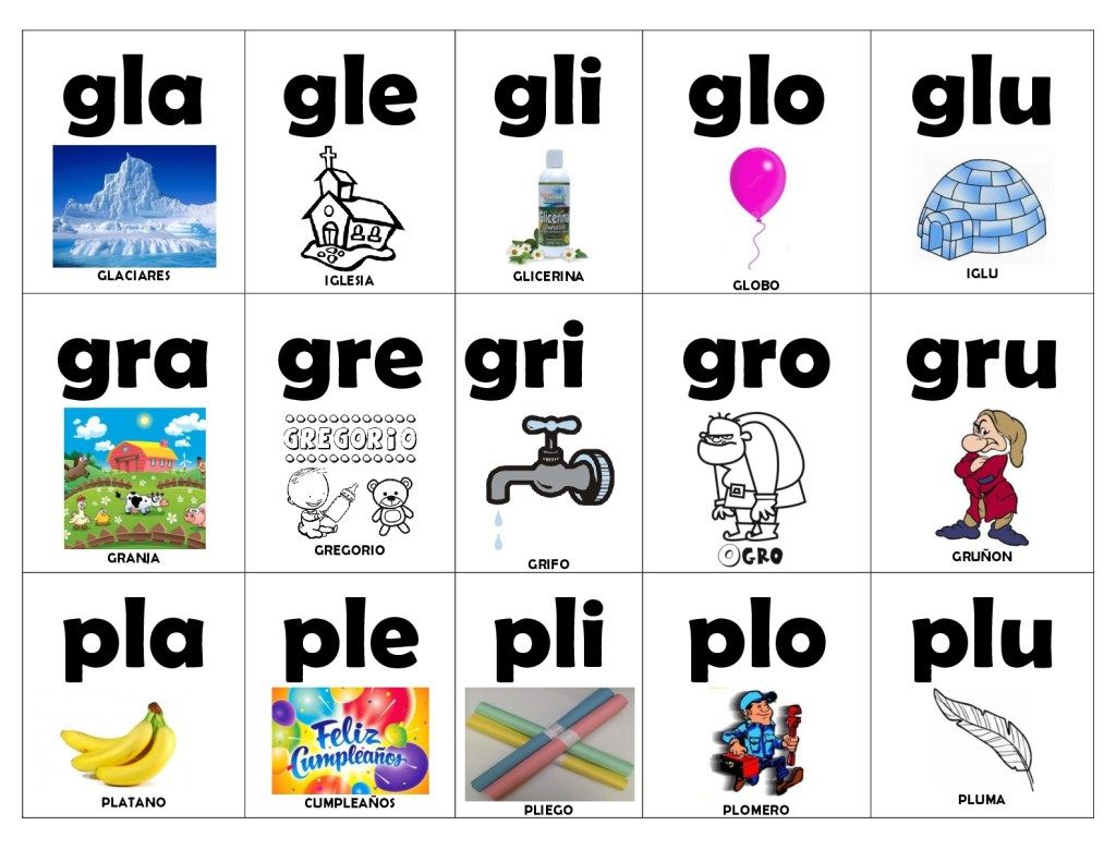 Tarjetas sílabas 2 (12 | Consonantes dobles: gl, gr, cr, cl, etc ...